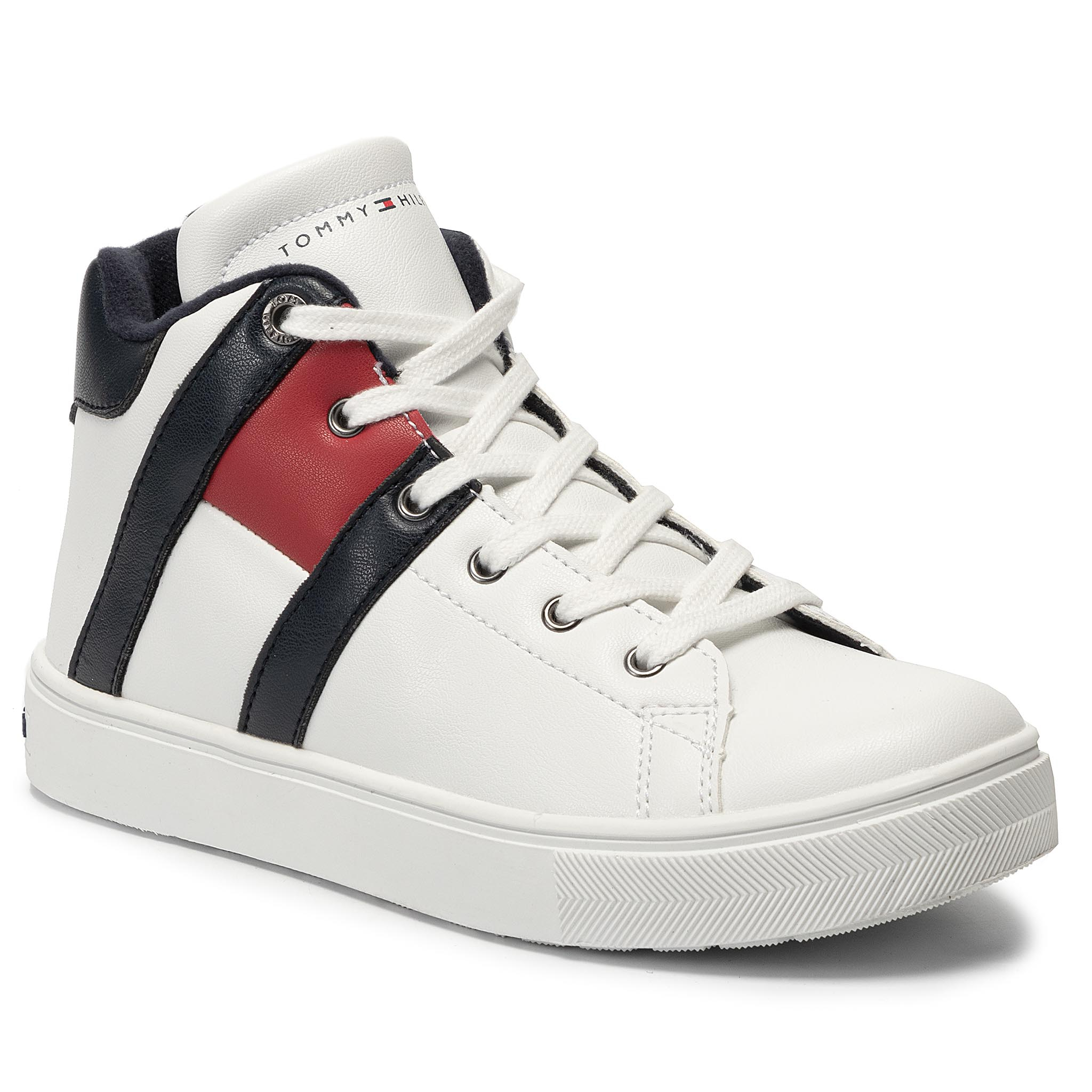 Sneakers TOMMY HILFIGER - High Top Lace-Up Sneaker T3B4-30510-0739 D White/Blue X008