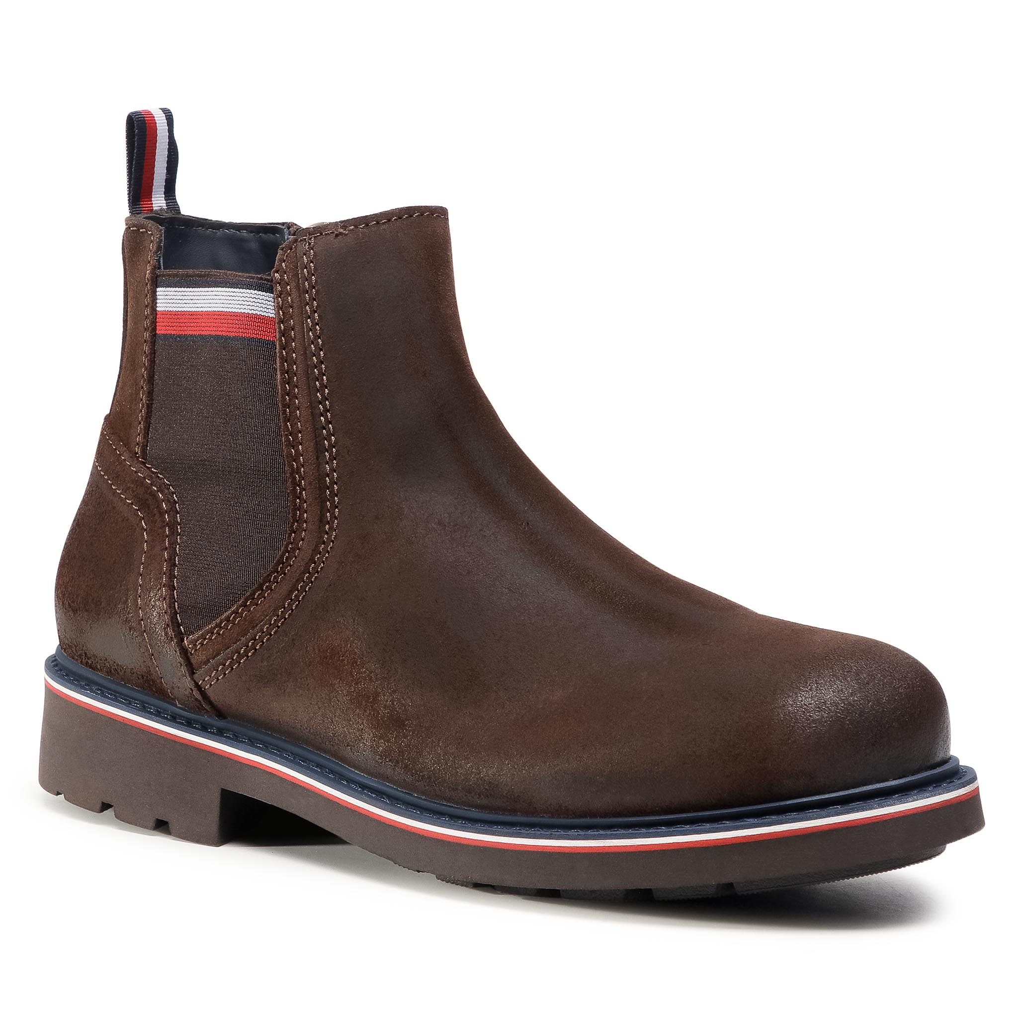 Boots TOMMY HILFIGER - Corporate Elastic Suede Boot FM0FM03053 Cocoa GT6