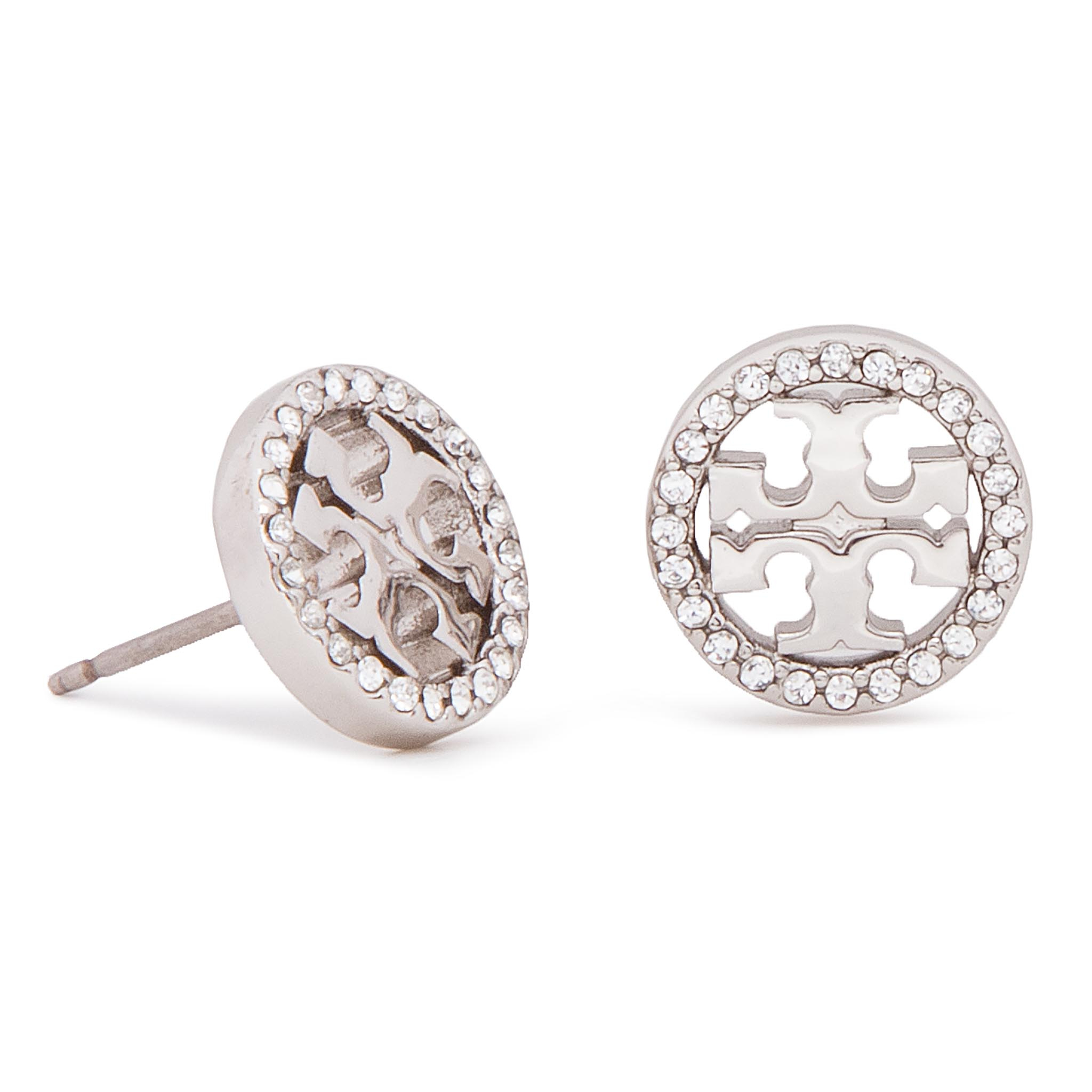 Boucles d'oreilles TORY BURCH - Crystal Logo Circle Stud Earring 53422 Tory Silver/Crystal 042