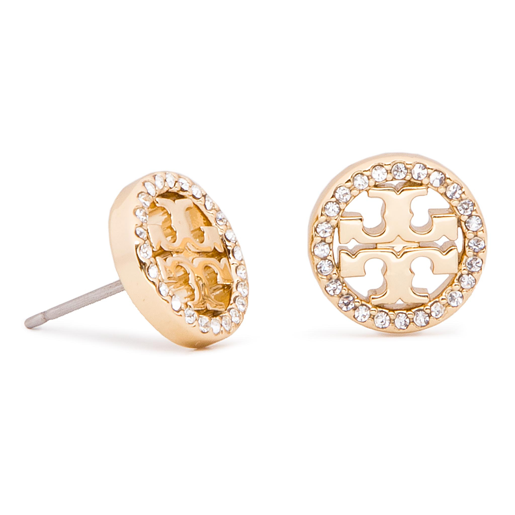 Boucles d'oreilles TORY BURCH - Crystal Logo Circle Stud Earring 53422 Tory Gold/Crystal 783