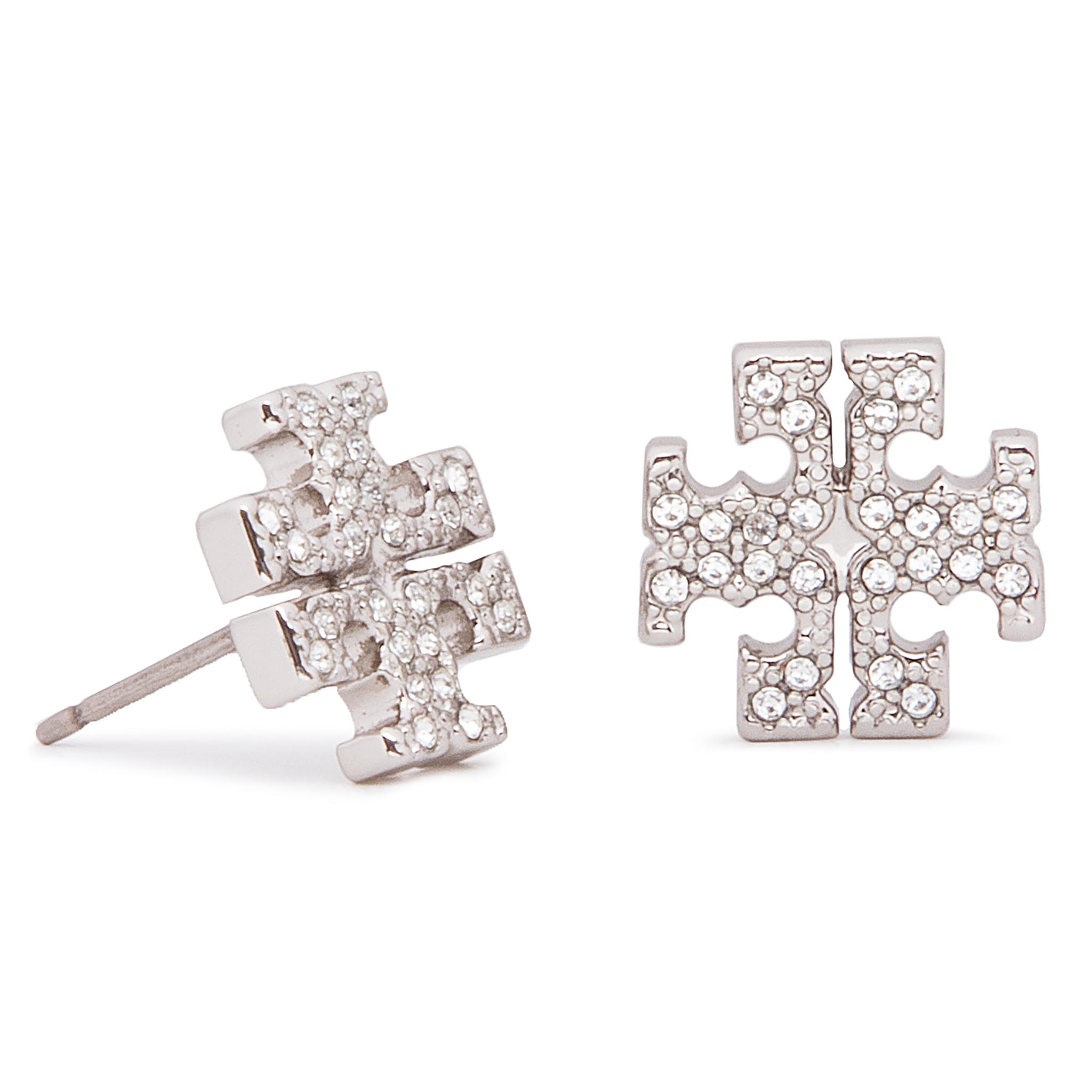Boucles d'oreilles TORY BURCH - Crystal Logo Stud Earring 53423 Tory Silver/Crystal 042