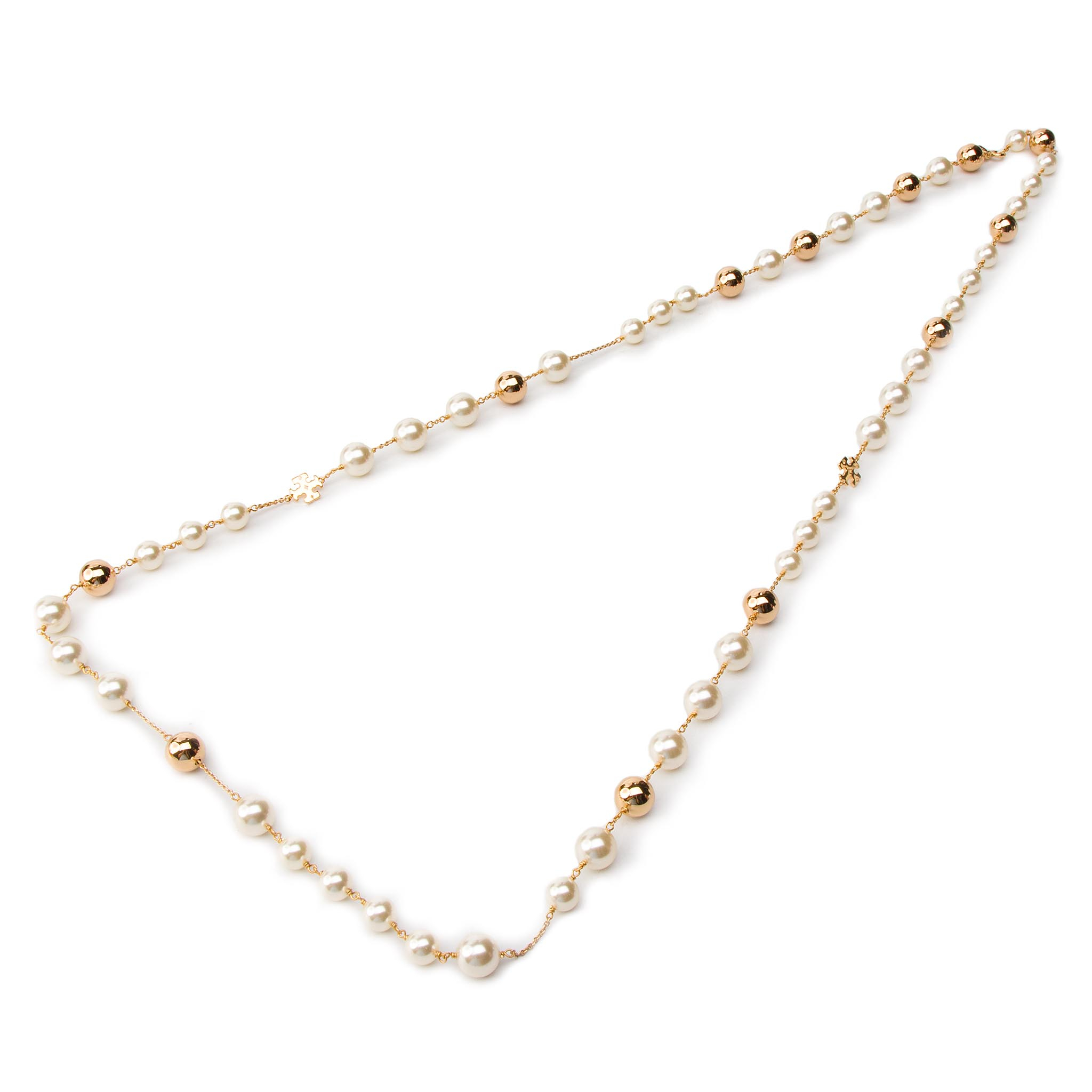 Collier TORY BURCH - Logo Pearl Rosary 54066 Tory Gold 137