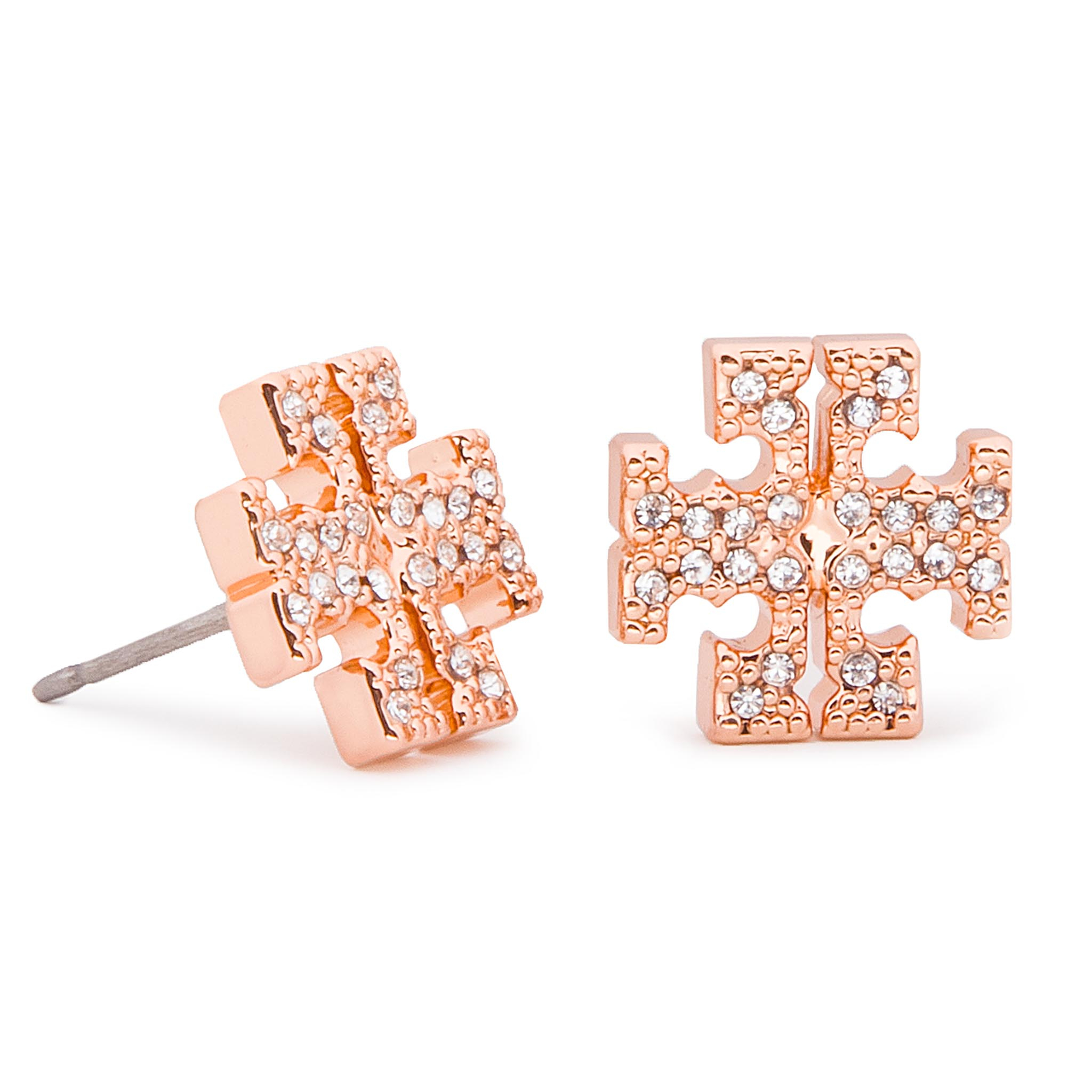 Boucles d'oreilles TORY BURCH - Crystal Logo Stud Earring 53423 Rose Gold/Crystal 696