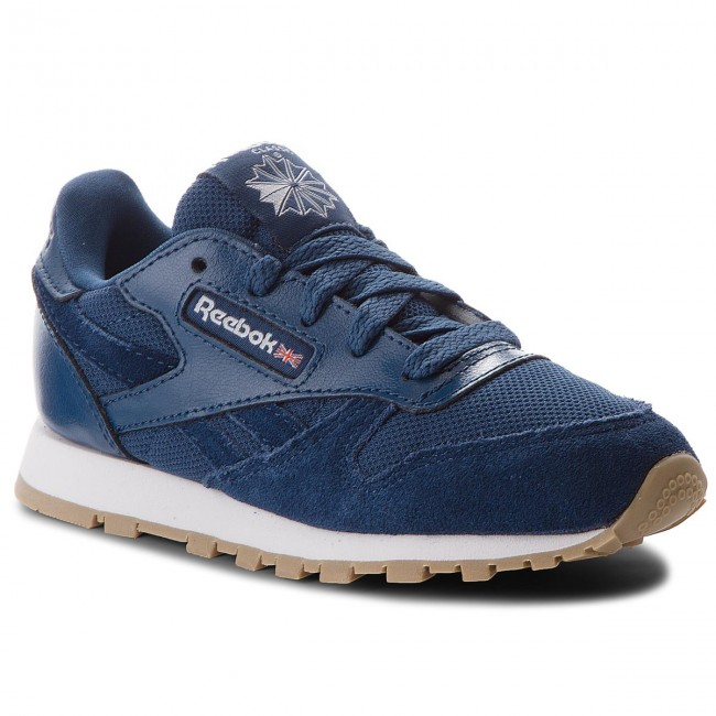 Leather Blue Estl Cn1136 Chaussures Washed Cl Reebok white gby7f6