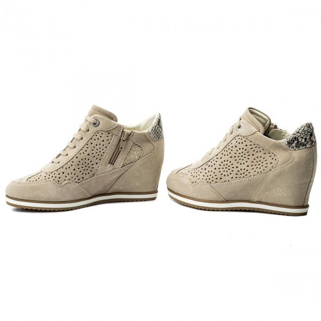 Geox D8254b Ch65a beige 00022 Lt B Taupe D Illusion Sneakers CsQrtdh