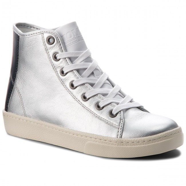 En0en00231 Silver Leather 000 Light Mid Sneakers Tommy Jeans rdBWQCxoe