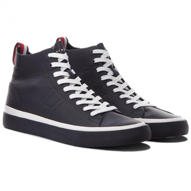 Sneakers TOMMY HILFIGER - Unlined Mid Midnight Cut Leather Sneaker FM0FM01626 Midnight Mid 403 - Sneakers - Chaussures basses - Homme 600e51