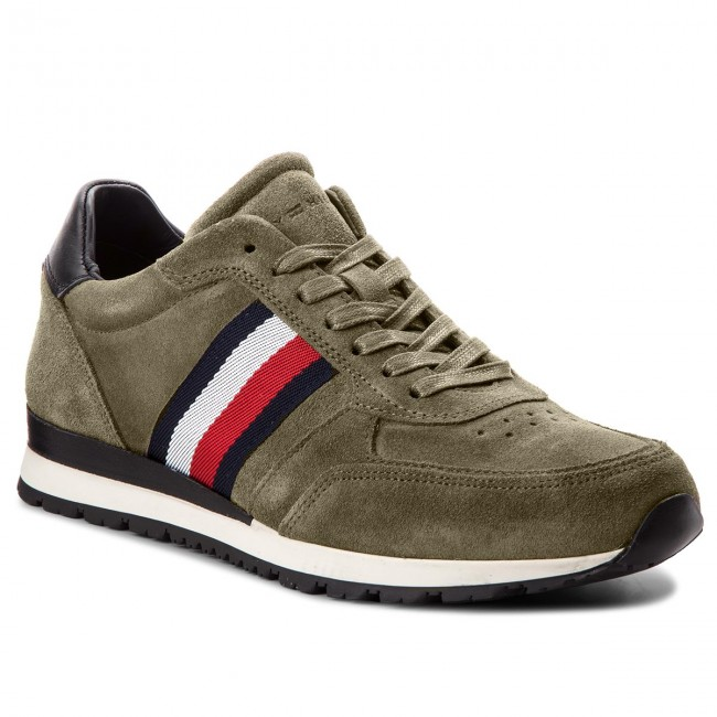 Suede 011 Fm0fm01815 Olive Tommy Luxury Hilfiger Dusty Runner Sneakers WE2I9HD