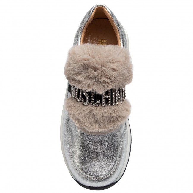Moschino 2018 Fall Argento S a Basses Sneakers 26260 Fille Enfant Enfiler Chaussures winter 34AjcRL5q