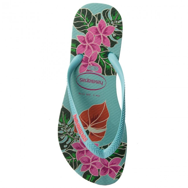 Floral Havaianas 41298480642 Ice Slim Tongs Blue wk80NOnPX