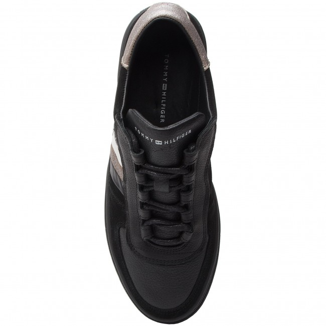 990 Fm0fm02022 Sneakers Mix Sneaker Black Hilfiger Leather Corporate Tommy iPkwXuOTZ