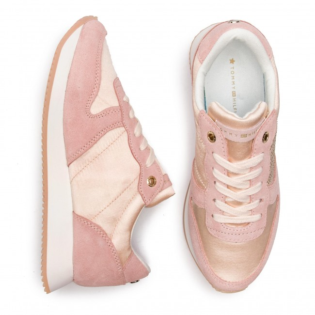 658 Silver Sneakers Fw0fw03991 Tommy Sneaker City Peony Sparkle Satin Hilfiger kwOXPn08