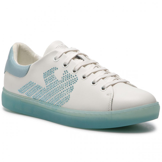 Armani light Sneakers A042 Emporio X3x071 White Blue Xl807 PkXZuTOi