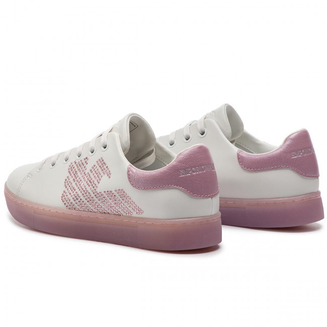 Sneakers X3x071 D884 White Femme summer 2019 Armani Basses Xl807 Spring Emporio Chaussures rose MGqzpLUjSV