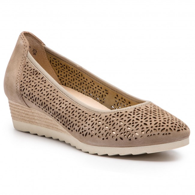 22503 344 Suede Chaussures 22 Taupe 9 Basses Lt Caprice TOiPlkwXZu