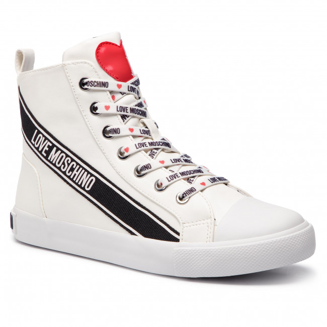 Chaussures 2019 Basses Femme Moschino Ja15023g07jb0100 Spring Love Sneakers summer Baskets Bianco vyYb7fg6