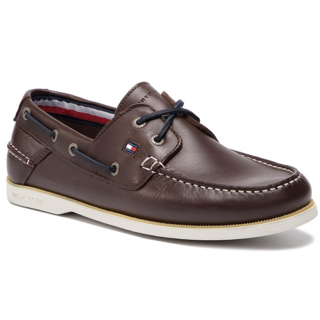 Bean Tommy Hilfiger Boatshoe Coffee Mocassins 212 Fm0fm02102 Leather Classic qMpUzSV