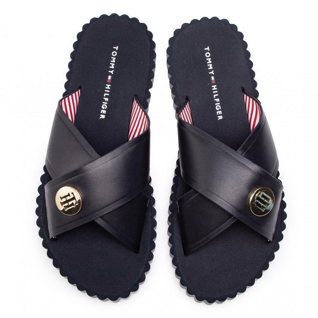 Fw0fw03883 403 Beach Hardware De Bain Tommy MulesSandales Sandal Midnight Hilfiger Detail 3cAL5q4Rj