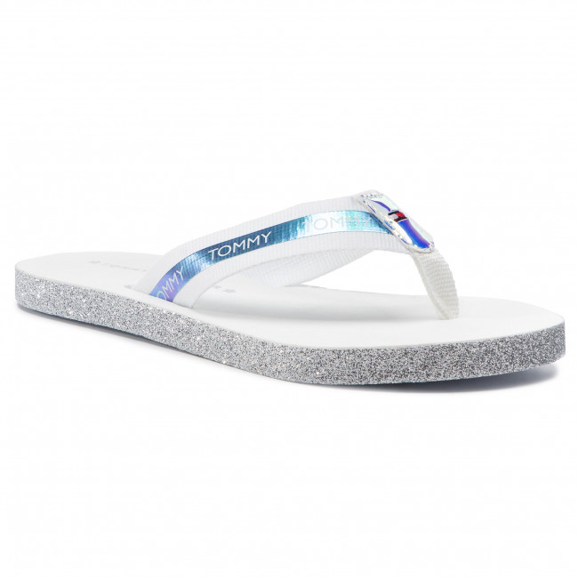 Hilfiger White 100 Tongs Iridescent Tommy Flat Sandal Beach Fw0fw04016 IDHW9E2Y