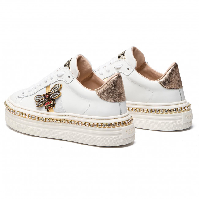 Bianco elastico Femme summer 756 Vitello Basses Bianco Chaussures ss19 Spring 2019 d Sneakers up Stokton OwkXnPN80