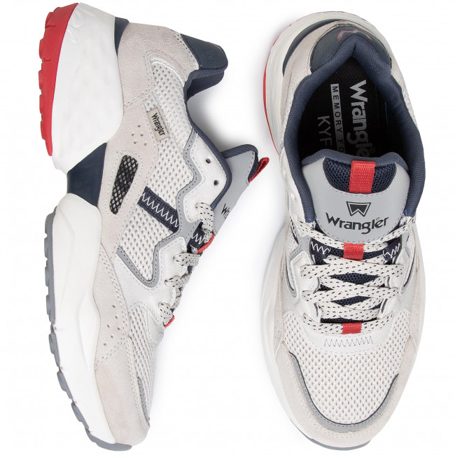 Faux Chaussures homme Sneakers WRANGLER - Iconic 90 Sm WM01101A White/Navy/Red 652 - Sneakers - Chaussures basses - Homme p6WXq