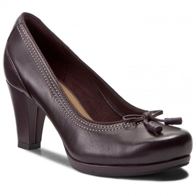 Chaussures basses CLARKS Chorus Bombay 261290924 Aubergine Leather