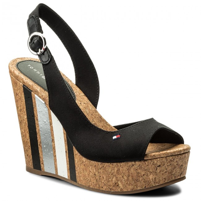 Sandales TOMMY HILFIGER Wedge With Printed Stripes FW0FW02794 Black 990