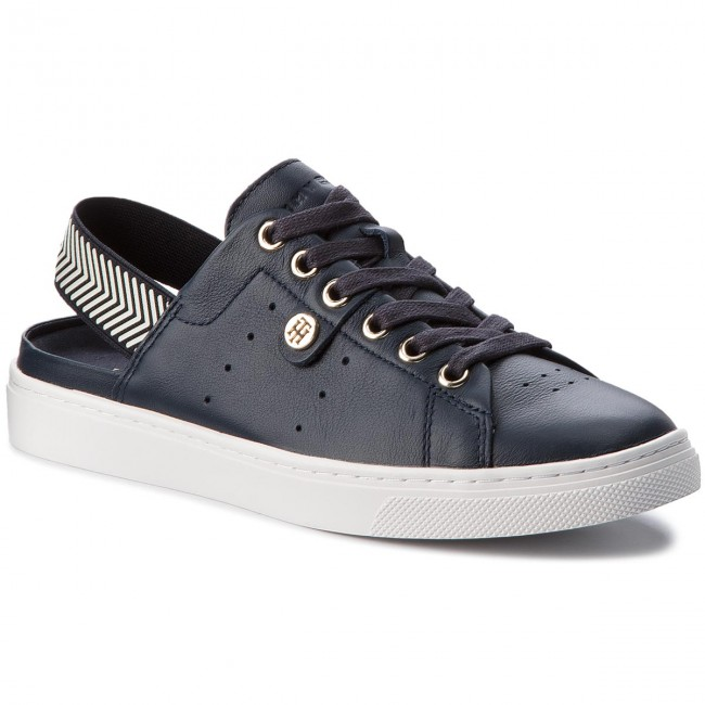 Sandales TOMMY HILFIGER Open Back Leather Sneaker FW0FW02662 Midnight 403