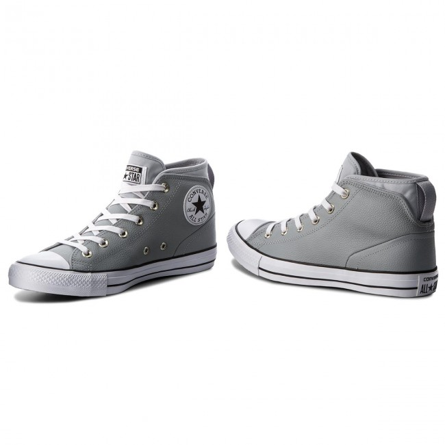 Sneakers 157538c wolf Ctas Grey white Street Converse Mid Wolf Grey Syde 80POXwnk