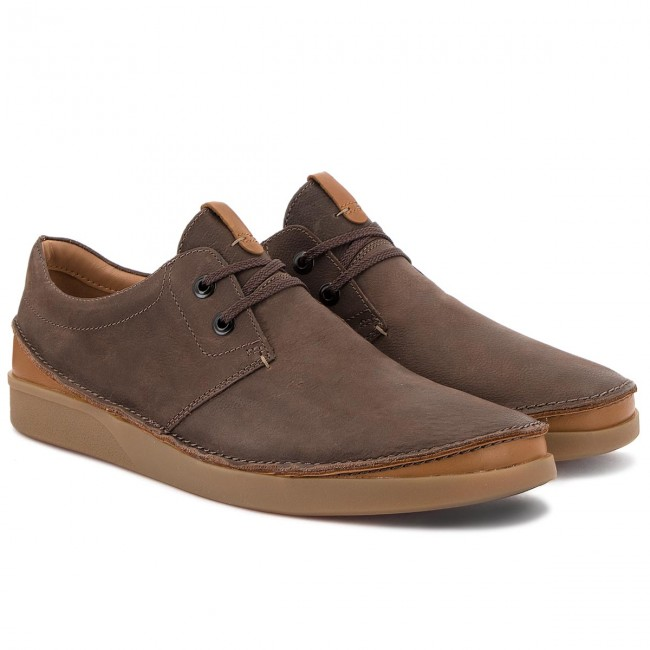 Chaussures Basses Clarks - Oakland Lace 261353937 Dark Brown Leather Détente Homme