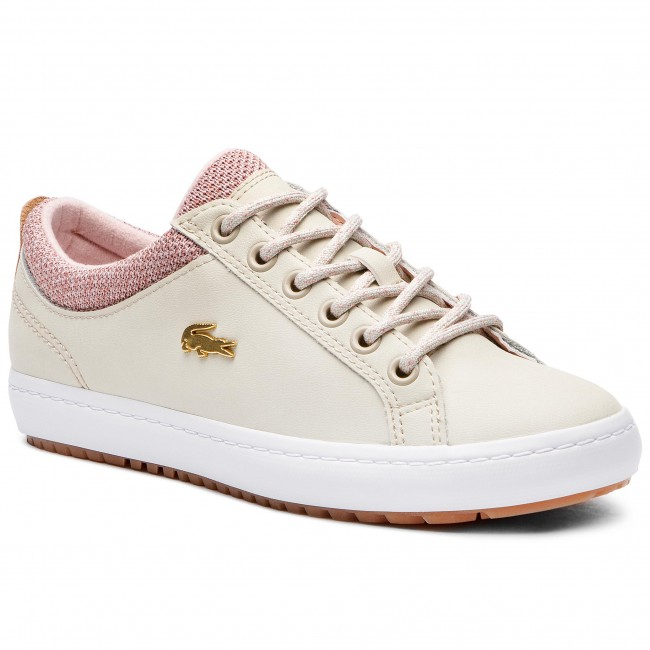 Lacoste Lerond Caw Femme Baskets Basses Marque Beige