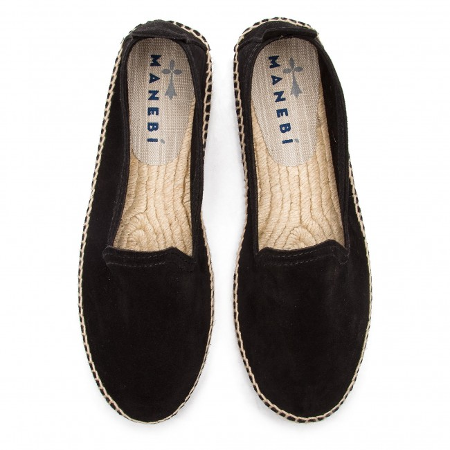 Espadrilles Manebi - Slippers W K 1.0 N0 Black Suede Chaussures Basses Femme iQUUxDny