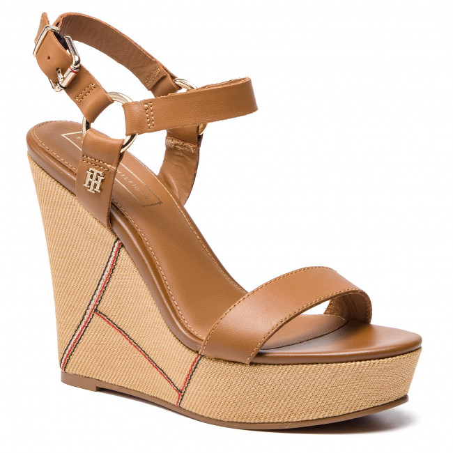 Sandales TOMMY HILFIGER Elevated Leather Wedge Sandal FW0FW03943 Summer Cognac 929