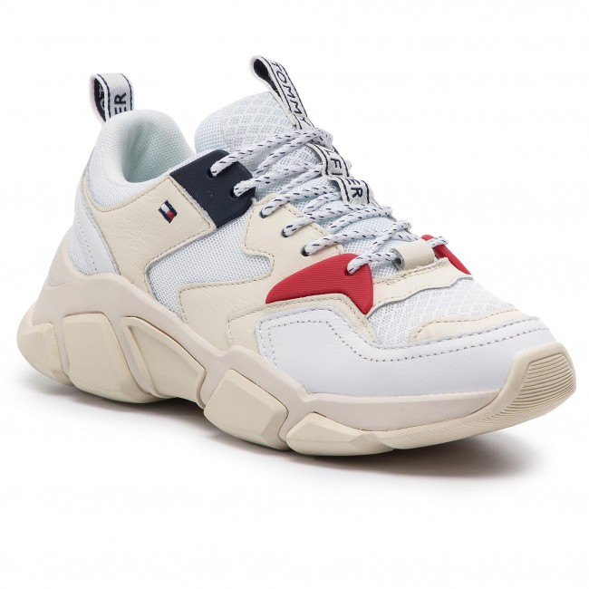 Sneakers TOMMY HILFIGER Wmn Chunky Mixed Textile Trainer FW0FW04065 White 100