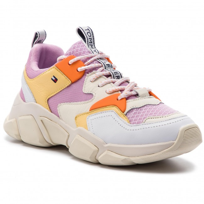 Sneakers TOMMY HILFIGER Chunky Mixed Textile Trainer FW0FW04065 Pink Lavender 518