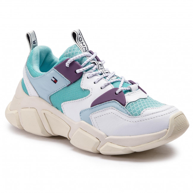 Sneakers TOMMY HILFIGER Chunky Mixed Textile Trainer FW0FW04065 Aqua Hanze 447