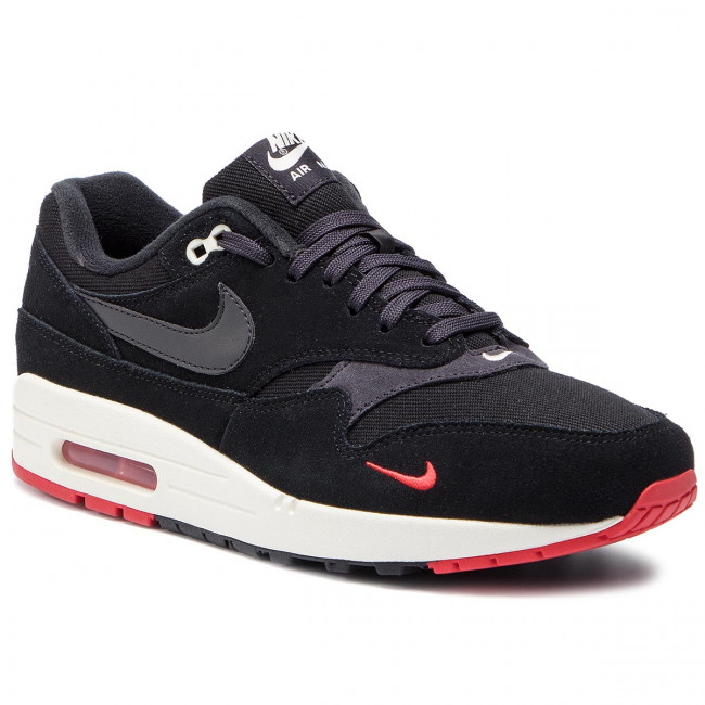 Chaussures NIKE Air Max 1 Premium 875844 007 BlackOil GreyUniversity Red