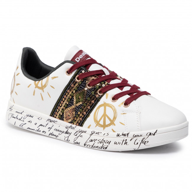 Desigual Shoes Cosmic Exotic White Sneakers Basses Femme