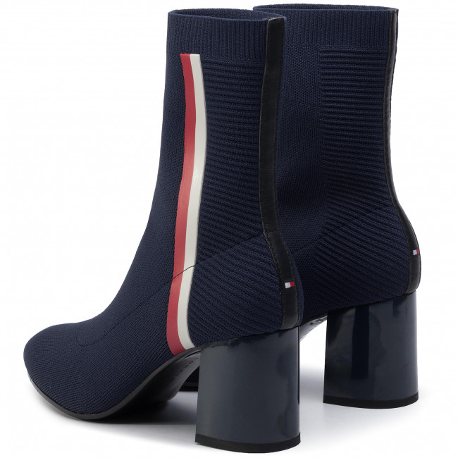 Bottines TOMMY HILFIGER Knitted Heeled Boot FW0FW04157 Midnight 403