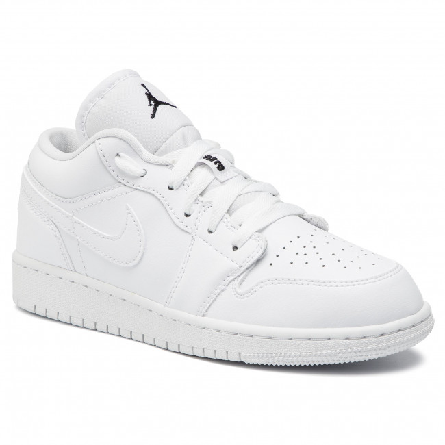Chaussures NIKE - Air Jordan 1 Low (GS) 553560 101 White/Black/White