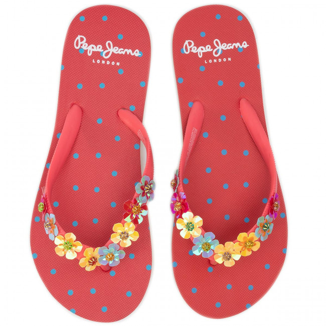 Tongs Pepe Jeans - Beach Flowers Pgs70029 Washed Red 228 Mules Et Sandales Femme