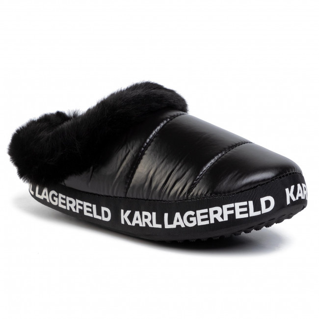 abordables Chaussons KARL LAGERFELD - KL49101 Black Coated Twill - Chaussons - Mules et sandales - Femme  Prendre plaisir