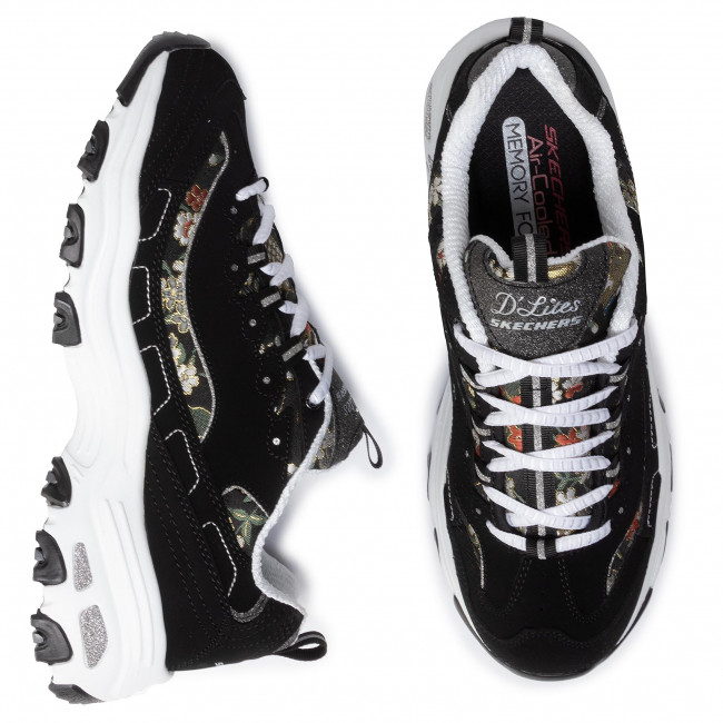 Sneakers SKECHERS - D'lites Floral Days 13082/BKW  Black/White - Sneakers - Chaussures basses - Femme