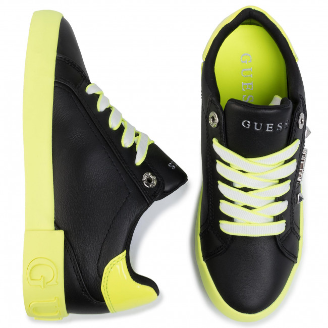 Sneakers Guess - Puxly Fl5pux Lea12 Black/yellow Chaussures Basses Femme