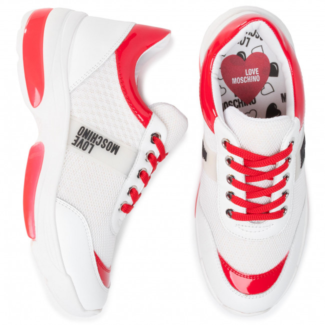 Sneakers Love Moschino - Ja15125g1aiq110c Bian/bian/rosso Chaussures Basses Femme