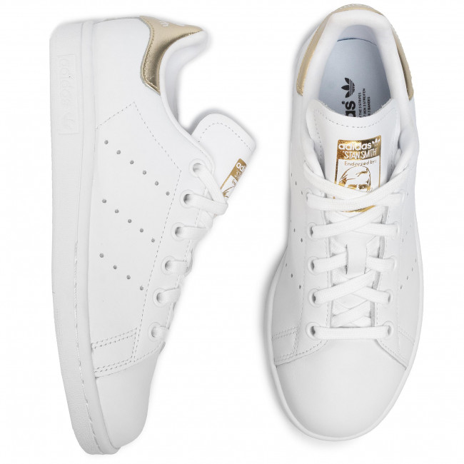 Chaussures adidas - Stan Smith EE8836 Ftwwht/Ftwwht/Goldmt - Sneakers - Chaussures basses - Femme