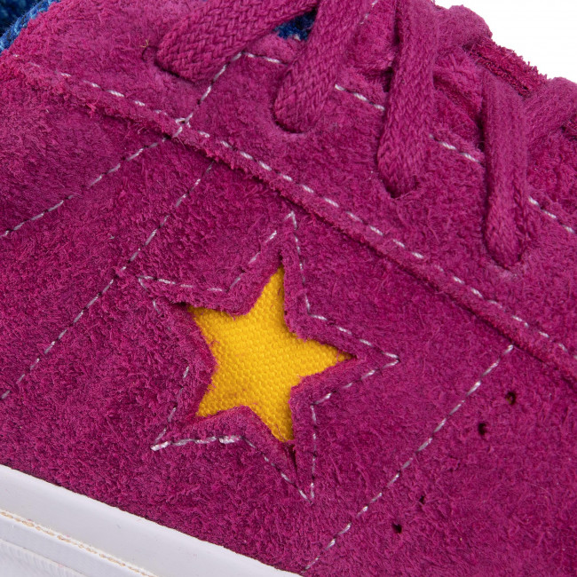 Tennis Converse - One Star Ox 166846c Rose Maroon/rush Blue/amarillo Baskets Chaussures Basses Femme