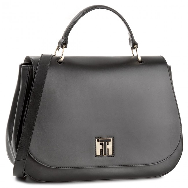 Sac à main TOMMY HILFIGER Th Twist Leather Med Satchel AW0AW05112 002