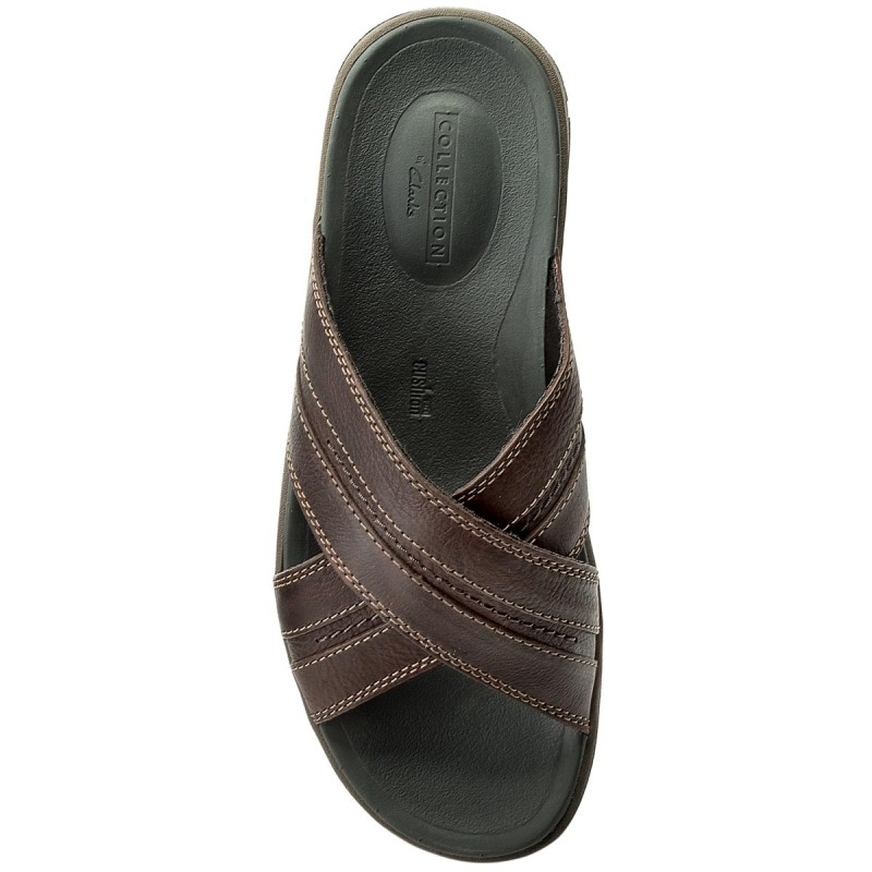 Mules / sandales de bain CLARKS - Brixby Cross 261315267 Dark Brown Leather - Mules - Mules et sandales - Homme