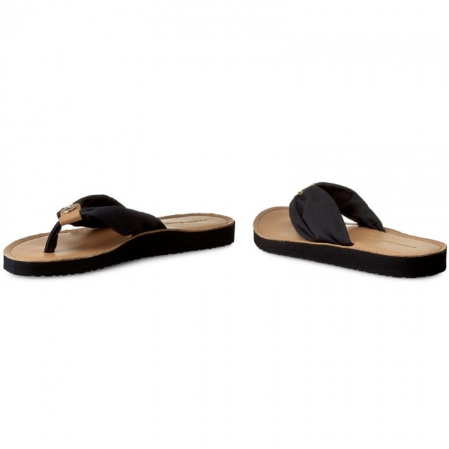 Tongs TOMMY HILFIGER - Leather Footbed Beach Sandal FW0FW00475 Midnight 403 - Tongs - Mules et sandales